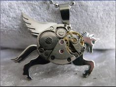 Alfresco Style Pegasus flying horse handmade steampunk necklace with a vintage watch movement WORLDWIDE FREE SHIPPING. $69.00, via Etsy.