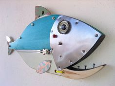 Excited to share the latest addition to my #etsy shop: Fish Sculpture, Handmade, Steampunk fish, Fishing pole, Fishing lure, fishing reel, beach decor, fisherman gift, fish art, rat rod art https://etsy.me/2JJ6vU7 #housewares #fishing #fishsculpture #fishingreel #steam