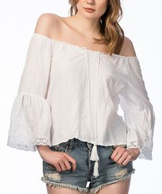Polkadot White Off-Shoulder Bell-Sleeve Top | zulily