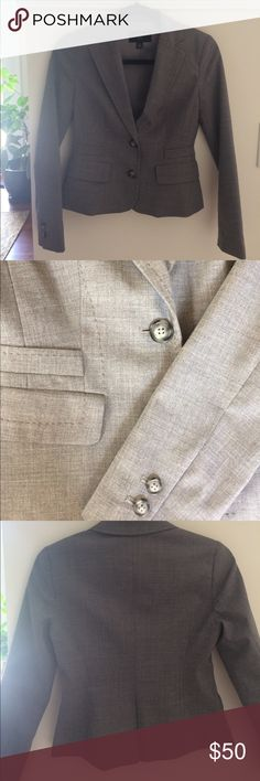 Banana Republic - blazer with stitched details 00P Professional fitted blazer in grey with sophisticated stitched detail throughout front and back. Excellent used condition, only worn a few times to work conferences. Fits 00P true to size. Banana Republic Jackets & Coats Blazers