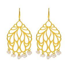 Ohrringe Peacock, Silber vergoldet, weiße Koralle - Leaf - Schmuck & Accessoires
