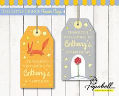 The Little Prince Favor Tags for The Little Prince Birthday. DIY Le Petit Prince Party Printables in 2 designs! Personalized. DIGITAL PDF.