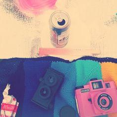 pink holga and twin-hole camera