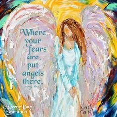 Put angels there ~ Painting by #karentarlton For app info ~ www.everydayspirit.net
