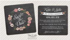 """Save The Date Postcard Floral """"chalkboard"""" design   Paper and Lace"""