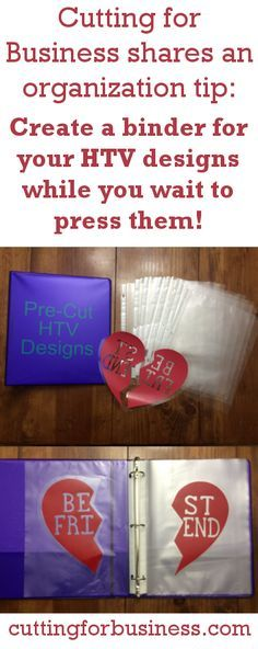Store your pre-cut heat transfer vinyl (HTV) designs in a binder by cuttingforbusiness.com