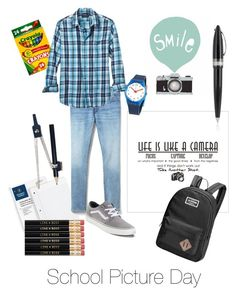 """Get Your School Pic On Kiddo's"" by lisaalexanderme ❤ liked on Polyvore featuring Seventy Tree, Gap, Banana Republic, Vans, Dakine, Swatch, Pineider, men's fashion and menswear"
