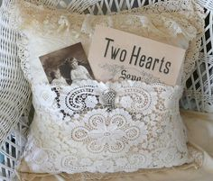 Two hearts   A pillow I altered by adding some lace and rhin…   Flickr