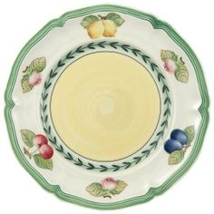 Villeroy & Boch French Garden Fleurence Bread and Butter Plate by Villeroy & Boch. $25.95. Features fruit border surrounding soft buttery colored center. Dishwasher and microwave safe. Vitrified porcelain for strength and durability. Imported from Luxembourg and Germany. 6 1/2-inch diameter. Bread & Butter Plates - Mult-Color Fruit Decor On Rim - Yellow Center - Made In Luxembourg. Save 24%!