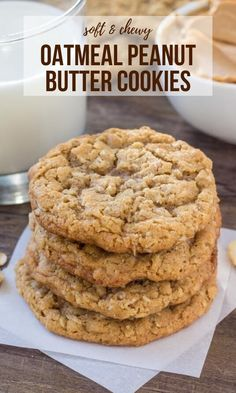 These easy peanut butter oatmeal cookies are soft, chewy and the best combination of 2 classic cookie recipes. These easy peanut butter oatmeal cookies are soft, chewy and the best combination of 2 classic cookie recipes. Oatmeal Cookie Recipes, Easy Cookie Recipes, Baking Recipes, Easy Oatmeal Cookies, Sweets Recipes, Crockpot Recipes, Applesauce Cookies, Chicken Recipes, Dinner Recipes