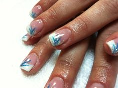 blue french nail design