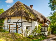 A thatched cottage in Nether Wallop, Hampshire. A very pretty village nearby. I do love this part of Hampshire so much - would never want to leave it! English Country Cottages, English Village, Thatched House, Thatched Roof, Cozy Cottage, Cottage Homes, Cottage Gardens, Cottage Style, Fairytale Cottage