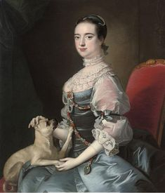 1755 Attributed to WRIGHT OF DERBY Joseph - Portrait of a lady, three-quarter-length, seated in a blue satin jewelled dress with lace sleeves and collar, with a pug dog