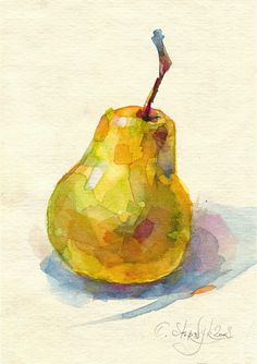 Watercolor pear painting, fruit painting, still life. Yellow pear art for kitchen