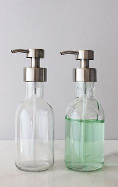 clear glass bathroom accessories. small farm house foaming soap dispenser features a clean and clear glass base metal foam pump with stainless steel finish. fill refill your bathroom accessories