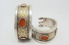 Antique Turkmen Tekke silver, fire gilded and carnelian cuff bracelets. High grade silver. Handmade. Collectible. by TheSterlingBead