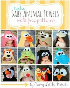 12 Baby Animal Towel Tutorials with Free Patterns. I bet I can convert this to crochet.