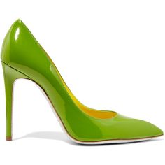 René Caovilla - Patent-leather Pumps (1,120 ILS) ❤ liked on Polyvore featuring shoes, pumps, green, slip-on shoes, slip on shoes, green pumps, pointy toe pumps and high heel pumps