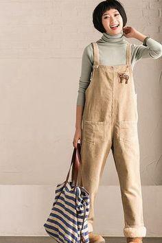 Light Art Corduroy Overalls Women Pants