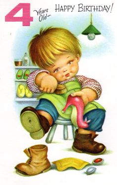 Awww-he's so cute! Chubby Cheek Baby Boy Vintage Birthday Card for Four/ 4 Year Old 1960's NOS. $3.00, via Etsy.