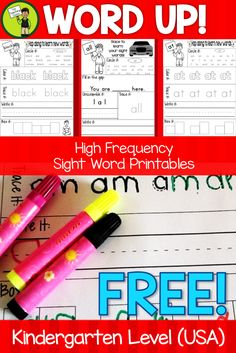 FREE Ten Kindergarten Sight Word Printables. This FREEBIE contains SEVEN FREE Kindergarten level sight word printables.
