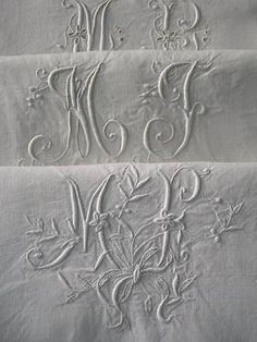 3-antique-French-hand-embroidered-linen-pillowcases-monograms-MP-MJ