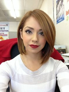 Cute Chin-Length Hairstyles for Girls: Long Bob Hair Cut