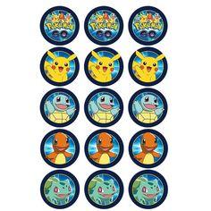 Pokemon Go Edible Cupcake Images – Build a Birthday Festa Pokemon Go, Pokemon Party, Pokemon Birthday, Pikachu, Pokemon Cupcakes Toppers, Pokemon Printables, Pokemon Craft, Cupcake Images, 6th Birthday Parties
