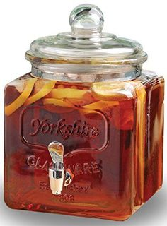 Circleware Yorkshire Mason Jar Square Glass Beverage Drink Water Juice Dispenser with Glass Lidhandle and Chrome Spout 14 Gallon Limited Edition Glassware Drinkware >>> Read more at the image link.