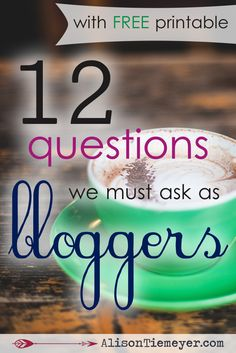 As bloggers, we're overloaded with information & possibly unsure where to start. There are podcasts, experts, blog posts, books, webinars, and guides for becoming successful. So, may I suggest that you sit down with a journal and a cup of iced tea to ask yourself these 12 important questions for bloggers? Grab your FREE printable cheat sheet with space for journaling to help!