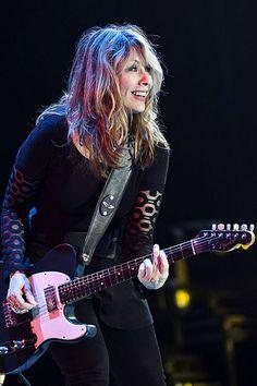 "Nancy Wilson with the ""Blue Guitar. Female Guitarist, Female Singers, Nancy Wilson Heart, Heavy Metal, Musica Metal, Guitar Girl, Blue Guitar, Bass, Women Of Rock"