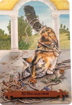 Justice (Consequences) - Mystical Cats Tarot by Lunaea Weatherstone, Mickie Mueller Tarot Major Arcana, Pretty Words, Tarot Decks, Tarot Cards, Mystic, Creatures, Nature, Painting, Mood Boards