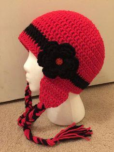 Ladybug inspired Crochet Hat/ Ladybug Beanie/ Ladybug earflaps by JAMMYCRAFFTS29 on Etsy https://www.etsy.com/listing/212863480/ladybug-inspired-crochet-hat-ladybug
