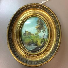 Signed Antique Framed Miniature Painting of Landscape and Chateau on Copper