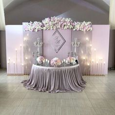 Ideas Party Table Mariage For 2019 Purple Wedding, Trendy Wedding, Wedding Colors, Diy Wedding, Dream Wedding, Wedding Flowers, Wedding Ideas, Party Table Decorations, Backdrop Decorations