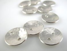 Sterling Silver Buttons 1/2 Inch 13mm Textured by NaftaliSupply, $40.00