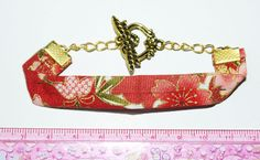 japanese coton fabric and fly dragoon toggle bracelet