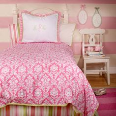 pink and green full size bedding for girls   ... Comments by Cuddles Kids Bedding Boutique − girls pink twin bedding