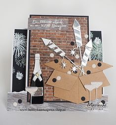 Marianne Design, Firecracker, Paper Cutting, Stencils, Champagne, Christmas Cards, December, Crafty, Holiday