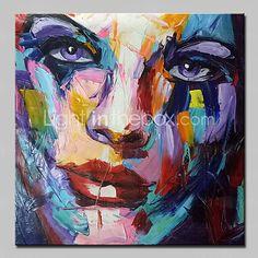 Pintada a mano Abstracto / Personas / Retratos Abstractos Pinturas de óleo,Modern Un Panel Lienzos Pintura al óleo pintada a colgar For 2017 - €83.29