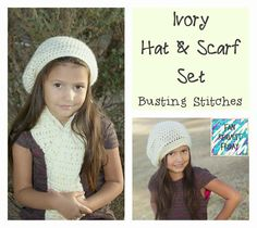 Ivory Hat & Scarf Set, free crochet pattern in child and adult size by Busting Stitches