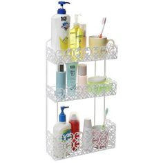 Decorative White Wall Mounted 3 Tier Shelf Baskets / Kitchen Spice Rack / Bathroom Product Holder: Home & Kitchen Spice Rack Bathroom, Kitchen Spice Racks, Bathroom Wall Shelves, Kitchen Shelves, Shelf Wall, Basket Shelves, Baskets, Metal Rack, Basket Organization