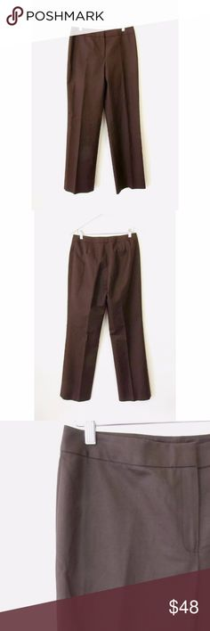 """Lafayette 148 Menswear Flat Front Dress Pants Sz 8 Brand:  Lafayette 148 New York Style:  Menswear Stretch Cotton Dress Pant, Straight Leg  Color:  Dark Brown Size: 8 Material:  96% Cotton, 4% Elastane Measurements taken flat:  Waist: 16 """"  Inseam: 33 """" Rise: 10.5"""" Leg Opening: 10"""" Care Instructions:  Dry clean   Condition: No flaws. See pictures for details Lafayette 148 New York Pants Trousers"""