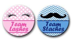 Staches or Lashes Gender Reveal Party Favors 2.25 inch Pinback Buttons Team Staches Team Lashes pins buttons badges by PutOnYourPartyCap on Etsy https://www.etsy.com/listing/236234143/staches-or-lashes-gender-reveal-party