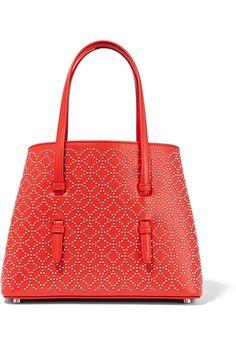 Red leather (Calf) Open top Weighs approximately Made in Italy Mini Handbags, Tote Handbags, Purses And Handbags, Best Purses, Cute Purses, Stylish Handbags, Luxury Handbags, Studded Leather, Leather Purses