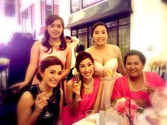 With my bridesmaids and friends at our wedding reception.#blushweddinggown #hotpinkgown #bridesmaids #melorlina