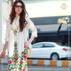 Revamp your wardrobe with Agha Noor Elevated drop by to the store nearest to grab the Designer Punjabi Suits, Pakistani Designers, High End Fashion, Daily Fashion, Fashion 2016, Simple Dresses, Nice Dresses, Awesome Dresses, Pakistan Street Style