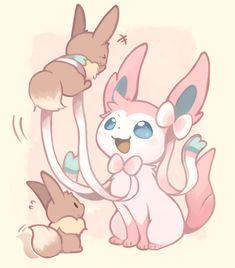 Eevee and sylveon - Pokemon Pokemon Mew, Pokemon Life, Pokemon Eeveelutions, Eevee Evolutions, Pokemon Fan Art, Pokemon Stuff, Kawaii Drawings, Cute Drawings, Pokemon Mignon