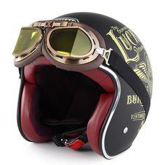 Buy Motorcycle Helmet Harley Retro Helmet With Harley Goggles Open Face Chopper Motorbike Helmet Scooter Capacetes SOMAN
