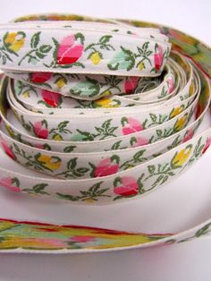 Vintage French Cream Floral Jacquard Ribbon Trim 16.5 Yards by clairemarieantiques on Etsy